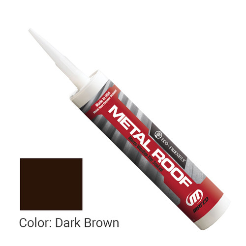 Sealant Color: Dark Brown - Weather-Tite Metal Roof Sealant comes in a variety of colors and goes on easily. If touch-ups are necessary, it may be painted (excluding translucent) with a water-based paint anytime after one hour of application.