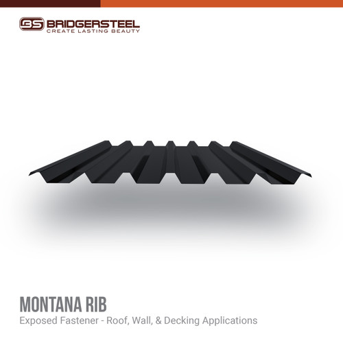 Montana Rib is created as a reversed box rib panel with wide valleys and tall, prominent ribs.