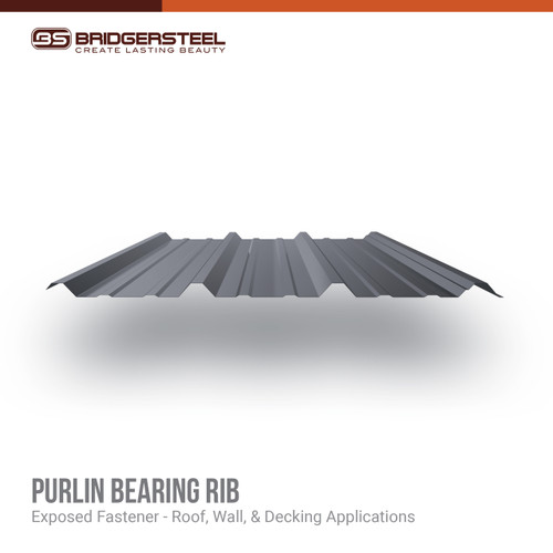 Bridger Steel's Purlin Bearing Rib (PBR) Panel is an exposed fastener R panel suitable for residential, commercial and agricultural applications.