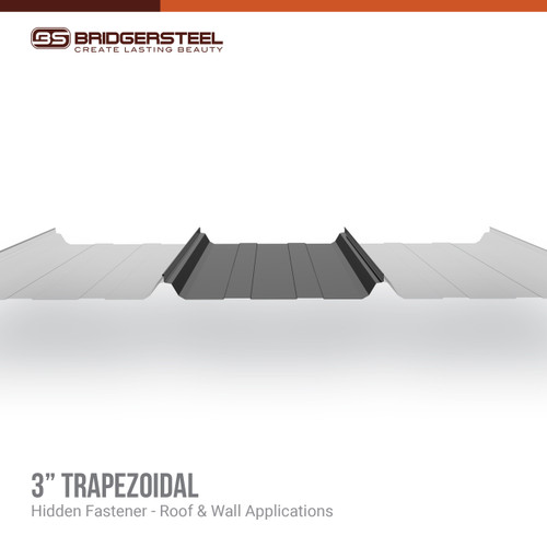 "The 3"" Trapezoidal panel is a mechanically seamed roofing panel designed for industrial, commercial and large-scale applications over steel purlins."