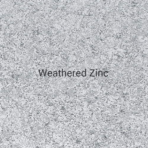 Weathered Zinc - A specialty print by Bridger Steel with neutral black and gray tones to emulate a naturally aging zinc panel.