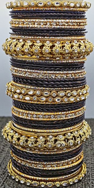 Black Metal Bangle set, buy online now. Free Shipping.