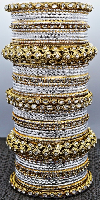 Gold & White Bangle set, buy online now. Free Shipping.