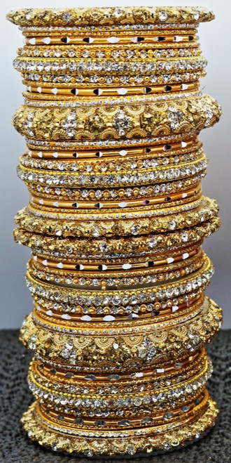 Stunning stone work Gold Bangle set, buy online now. Free Shipping.