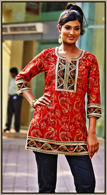 Stunning Red designer Kurti. Buy online now.