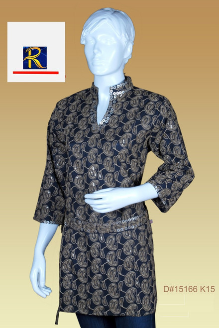 Black Kurti with sequin motifs