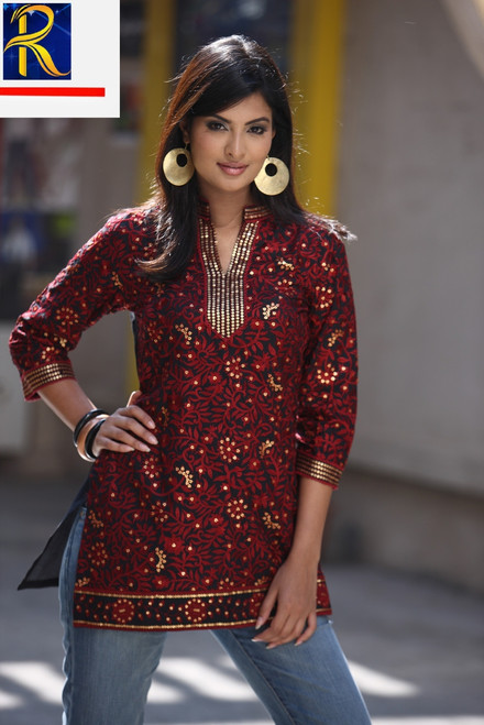 Black Kurti | Red & Gold embrodiery | Elegant | Buy Now