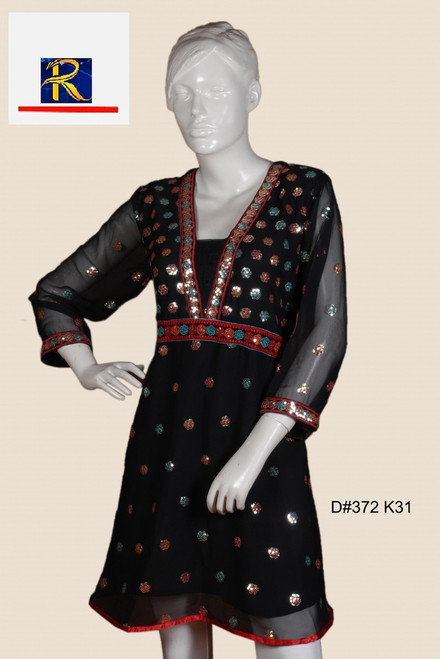 Elegant Black Kurti | elegant embrodiery | georgette | Buy Now