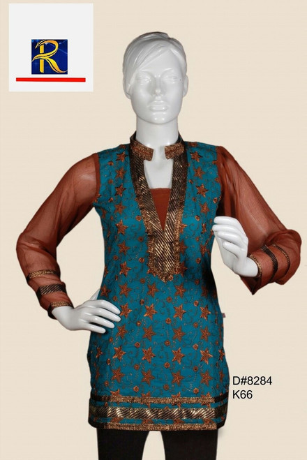 Unique Green Fashion Kurti | Gold Motifs | Buy Now
