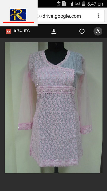 Pink Kurti with Pearl motifs | Buy now