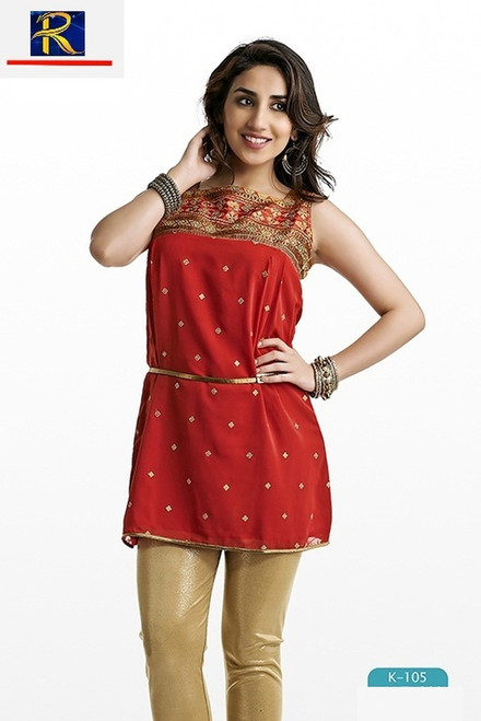 Red Kurti | Gold Sequin Work | Elegant | Buy Now