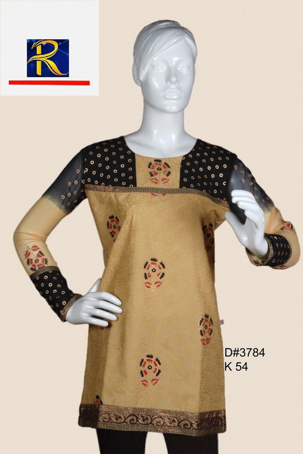 Brown cotton Kurti | Full Body embroidery with highlights |Pearl work | Buy Now
