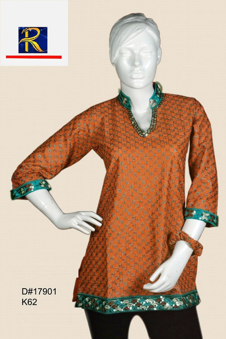 a very cool Rustic Red Kurti | Gold sequin work |  Buy Now