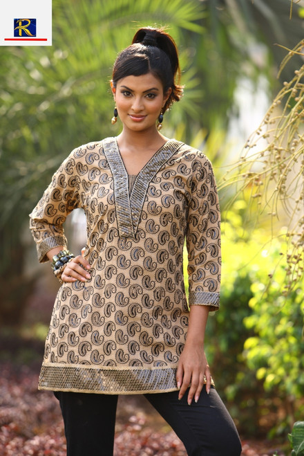 Designer Kurti | Available in these colours: Browm , Coral Light Brown & Purple | Buy Now