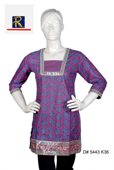 Buy Now   Maroon Kurti   Full Embroidery Work   Delicate motifs in Red  