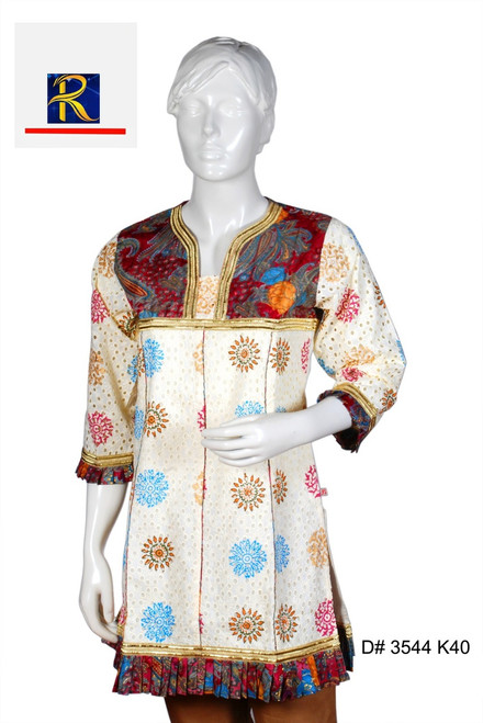 Buy Now   Cream Kurti   Full Embroidery Work   Delicate Floral motifs  