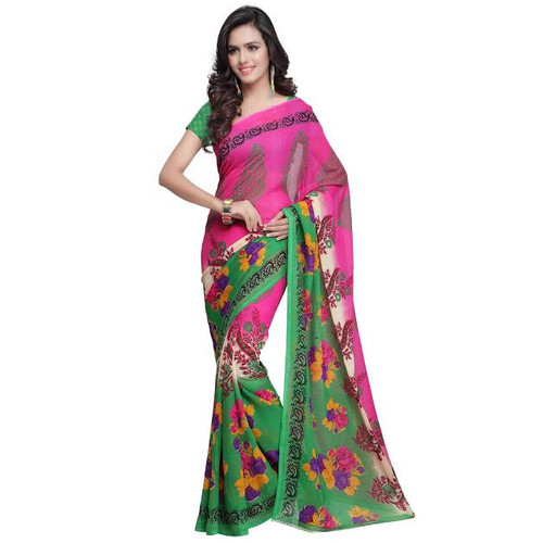 Buy Now | Green & Pink Georgette Saree |  Matching Blouse Piece | Free Delivery Australia wide