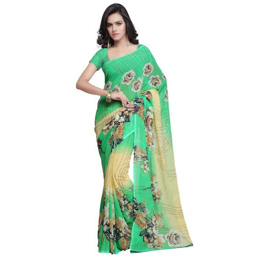 Buy Now | Green & Gold Georgette Saree | Matching Blouse Piece | Free Delivery Australia wide