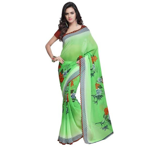 Buy Now | Green shaded Georgette Saree | Matching Blouse Piece | Free Delivery Australia wide