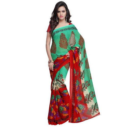 Buy Now | Green & Red Georgette Saree | Matching Blouse Piece | Free Delivery Australia wide