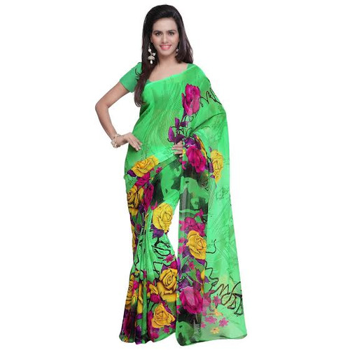 Buy Now | Green & floral motif Georgette Saree | Matching Blouse Piece | Free Delivery Australia wide