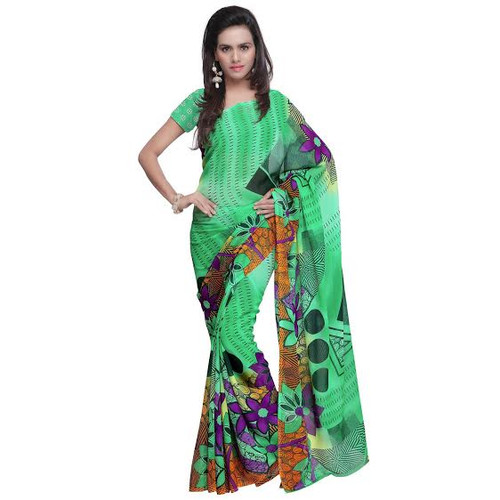 Buy Now | Green with Black Boarder Georgette Saree | Matching Blouse Piece | Free Delivery Australia wide