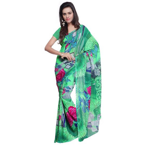Buy Now | Light Green Georgette Saree | Matching Blouse Piece | Free Delivery Australia wide