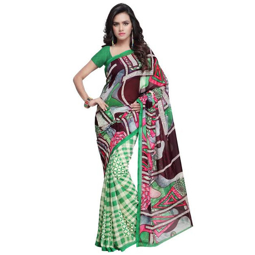 Buy Now | Light Green & Black Georgette Saree | Matching Blouse Piece | Free Delivery Australia wide