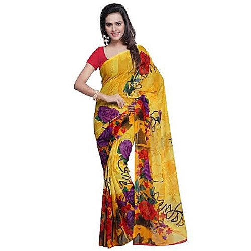 Buy Now | Yellow Floral Georgette Saree | Matching Blouse Piece | Free Delivery Australia wide