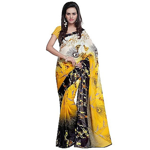 Buy Now | Yellow with Black Georgette Saree | Matching Blouse Piece | Free Delivery Australia wide