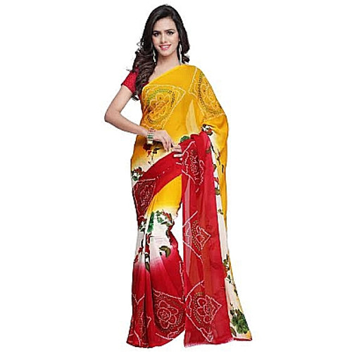 Buy Now |  Golden Yellow & Red Georgette Saree | Bhandini Artwork| Matching Blouse Piece | Free Delivery Australia wide