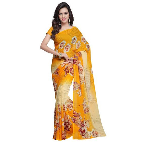 Buy Now    Golden Yellow & Cream Saree   Matching Blouse Piece   Free Delivery Australia wide