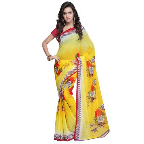 Buy Now |  Yellow & white motif Saree | Matching Blouse Piece | Free Delivery Australia wide