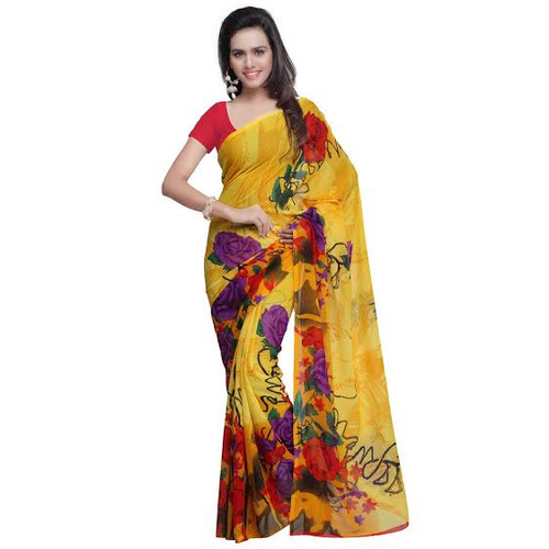 Buy Now |  Yellow Floral Motif Saree | Matching Blouse Piece | Free Delivery Australia wide