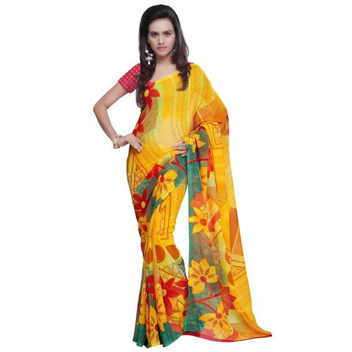 Buy Now | Golden Yellow Floral Motif Saree | Matching Blouse Piece | Free Delivery Australia wide
