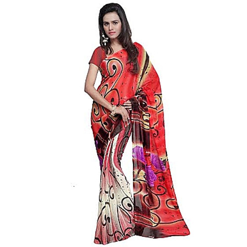 Buy Now | Red & Cream Saree | Matching Blouse Piece | Free Delivery Australia wide