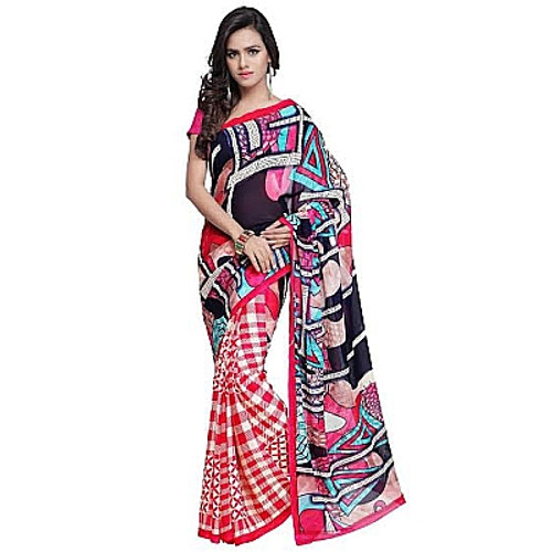 Buy Now | Printed Red Saree | Matching Blouse Piece | Free Delivery Australia wide