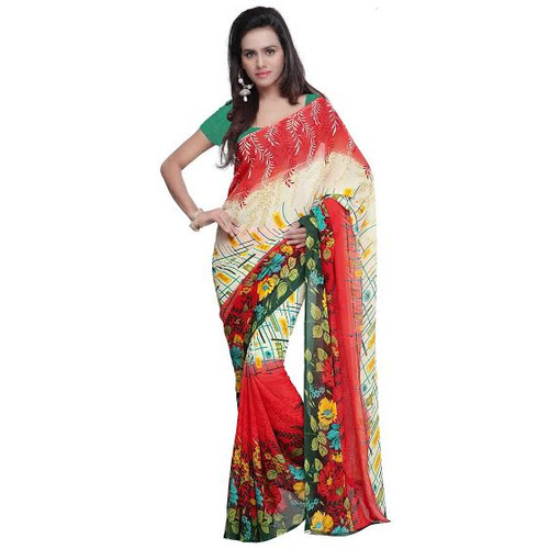 Buy Now | Red & Cream Printed Georgette Saree | Single piece item | Matching Blouse piece