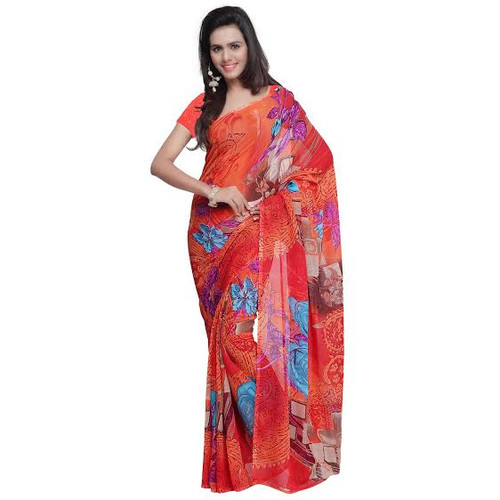 Buy Now | Light Red printed Georgette Saree | Single piece item | Matching Blouse piece
