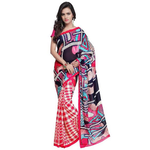 Buy Now | Bright Red & Black printed Georgette Saree | Single piece item | Matching Blouse piece