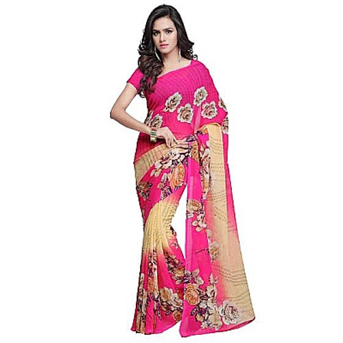 Buy Now | Pink & Cream printed Georgette Saree | Single piece item | Matching Blouse piece