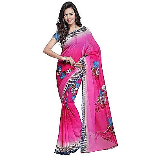 Buy Now | Bright Pink printed Georgette Saree | Single piece item | Matching Blouse piece | Grab it!