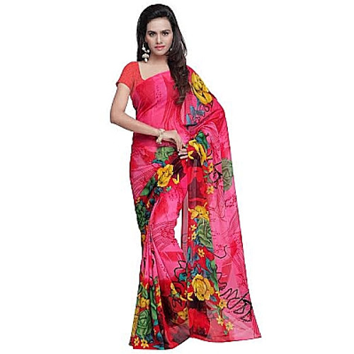 Buy Now | Pink & Red printed Georgette Saree | Single piece item | Matching Blouse piece | Grab it!