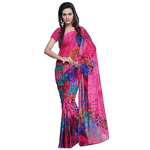 Buy Now | Light Pink & Blue printed Georgette Saree | Single piece item | Matching Blouse piece | Grab it!
