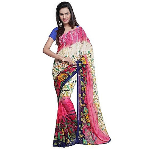 Buy Now | Pink & off-white Georgette Saree | Single piece item | Matching Blouse piece | Grab it!