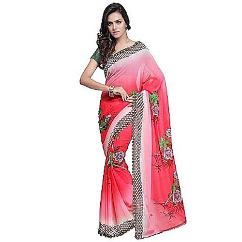 Buy Now | Shaded Pink Georgette Saree | Single piece item | Matching Blouse piece | Grab it!