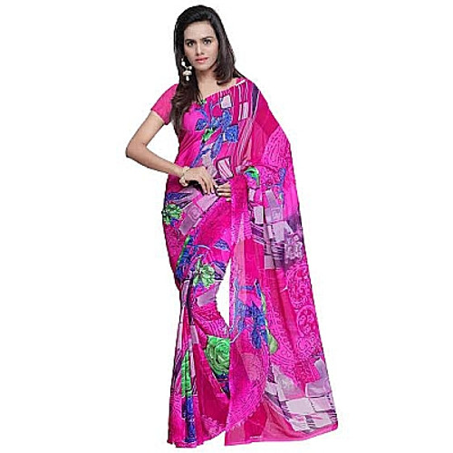 Buy Now | Light Pink Georgette Saree | Single piece item | Matching Blouse piece | Grab it!