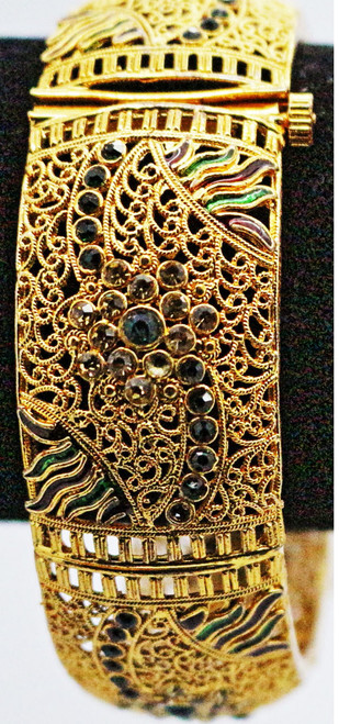 One Gram Gold Plated Bangle with green & red stone works    Intricate design & motifs   buy online now. Free Shipping Australia wide   Free size to fit up to a 2.10 sized bangle