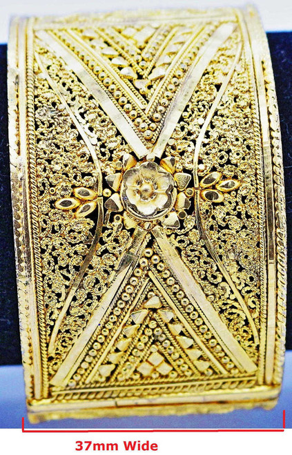 One Gram Gold Plated Bangle with intricate artwork   buy online now   Free Shipping Australia wide   Free size to fit up to a 2.6 sized bangle.