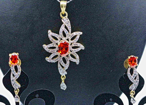 Exclusive Pendant Set | Set in striking Orange Stone adorned with sparkling AD Stones | Buy online now | Free Shipping Australia wide